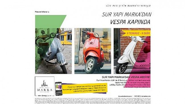 Sur Yapı Marka AVM'de 3 adet Vespa sahiplerini bekliyor