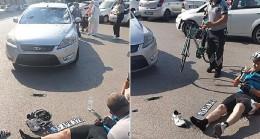 Kaza yapan bisikletliye ilk müdahale Kocaeli Büyükşehir personelinden